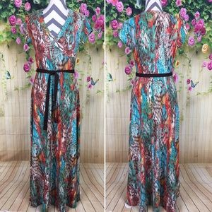 Darian Abstract Brushstroke Maxi Dress Size M
